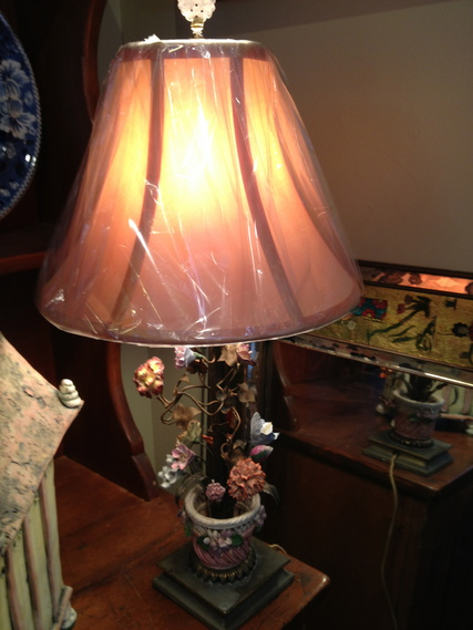 Silk lampshade on porcelain tole lamp